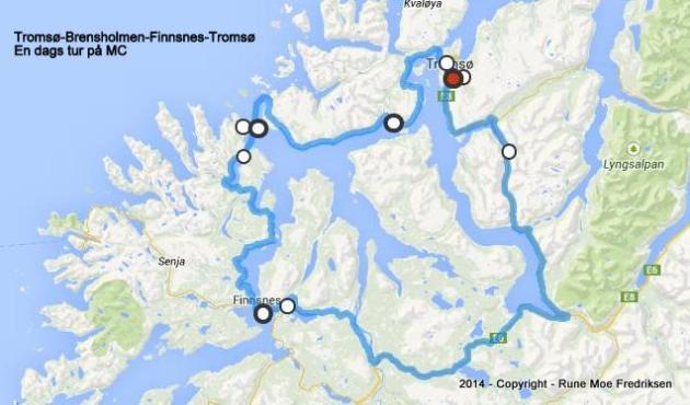 1-Turbeskrivelse MC-tur Tromsø-Brensholmen-Finnsnes-Tromsø